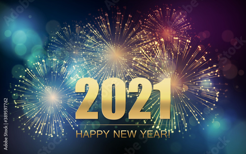 2021 New Year Abstract background with fireworks. Vector Wallpaper Mural