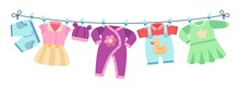 Flat Children Clothes. Colorful Dresses, Little Kid Unisex Apparel On Clothesline. Isolated Element For Birthday Or Baby Shower Vector Cards. Baby Newborn Pants, Clothes On Clothesline Illustration