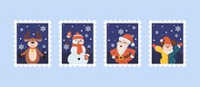 Christmas Post Stamps With Santa, Reindeer, Snowman, Santa Claus And Clown Vector Illustration.
