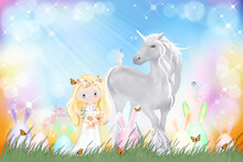 Happy Easter Greeting Card, Spring Nature,Easter Bunny Egg Hunt In Green Field,cute Princess,unicorn And Little Fairies Flying With Butterfly On Wild Grass Flowe.Vector Spring Background