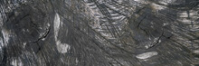 Altes, Stark Texturiertes Schwarzes Holz - Panorama Hintergrund In Nahaufnahme