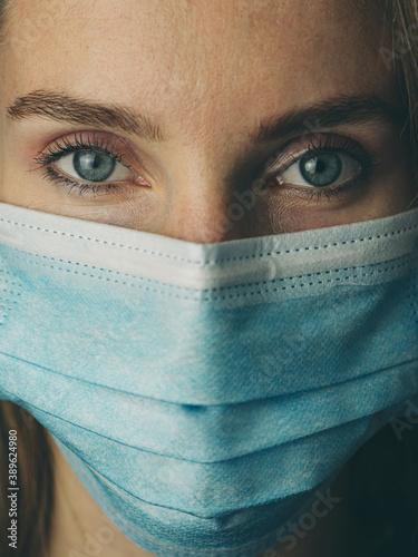 Fototapety, obrazy: Closeup portrait of a woman wearing mask. Quarantine concept