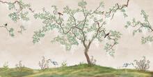 Flowering Tree In The Japanese Garden With Birds. Fresco, Wallpaper For Interior Printing.