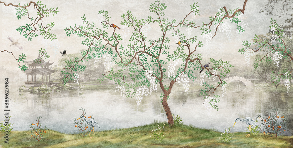 Tree by the lake. Misty landscape. Tree with birds in the Japanese garden. the mural, Wallpaper for interior printing