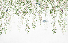 Willow Branches Hanging From Above With Birds On A White Background. Wallpaper, Murals And Wall Paintings For Interior Printing.