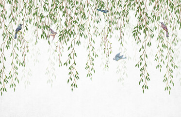 Panel Szklany Do sypialni Willow branches hanging from above with birds on a white background. Wallpaper, murals and wall paintings for interior printing.