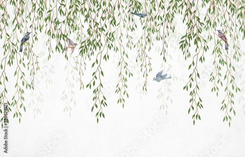 Murale ścienne  willow-branches-hanging-from-above-with-birds-on-a-white-background-wallpaper-murals-and-wall-paintings-for-interior-printing