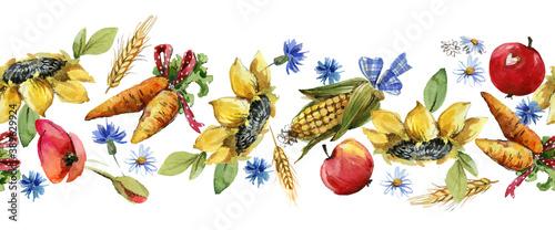 seamless pattern with seasonal  autumn harvest Wallpaper Mural