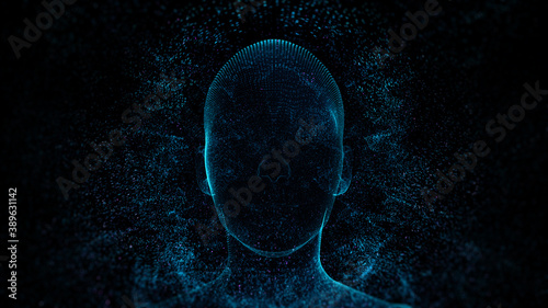 Fototapeta 3d render of abstract face in digital cyberspace with a lot of particles around