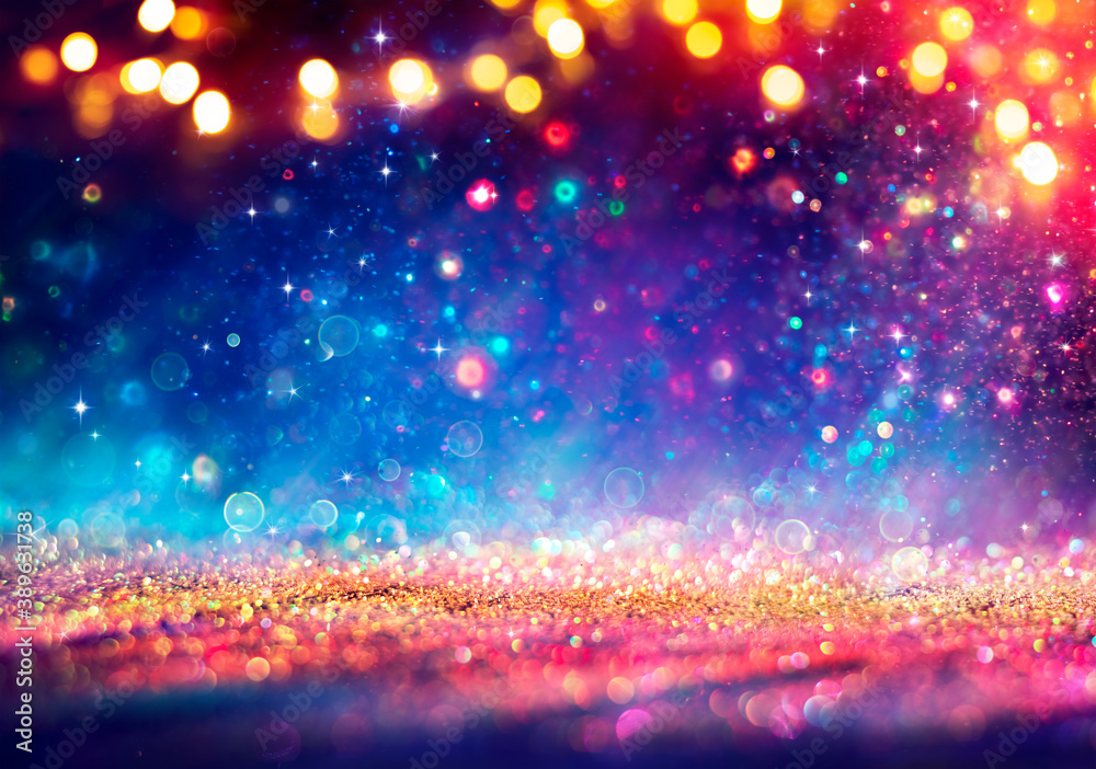 Fototapeta Abstract Defocused Christmas Background - Shiny Golden Glitter With Blurred Lights On Blue Background
