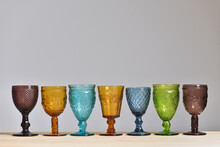 Set Of Empty Glasses Made Of C...
