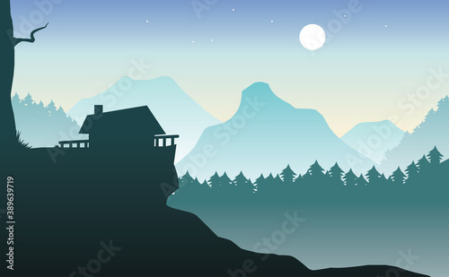 Tela illustration of beautiful mountains and pine forest with hillside houses