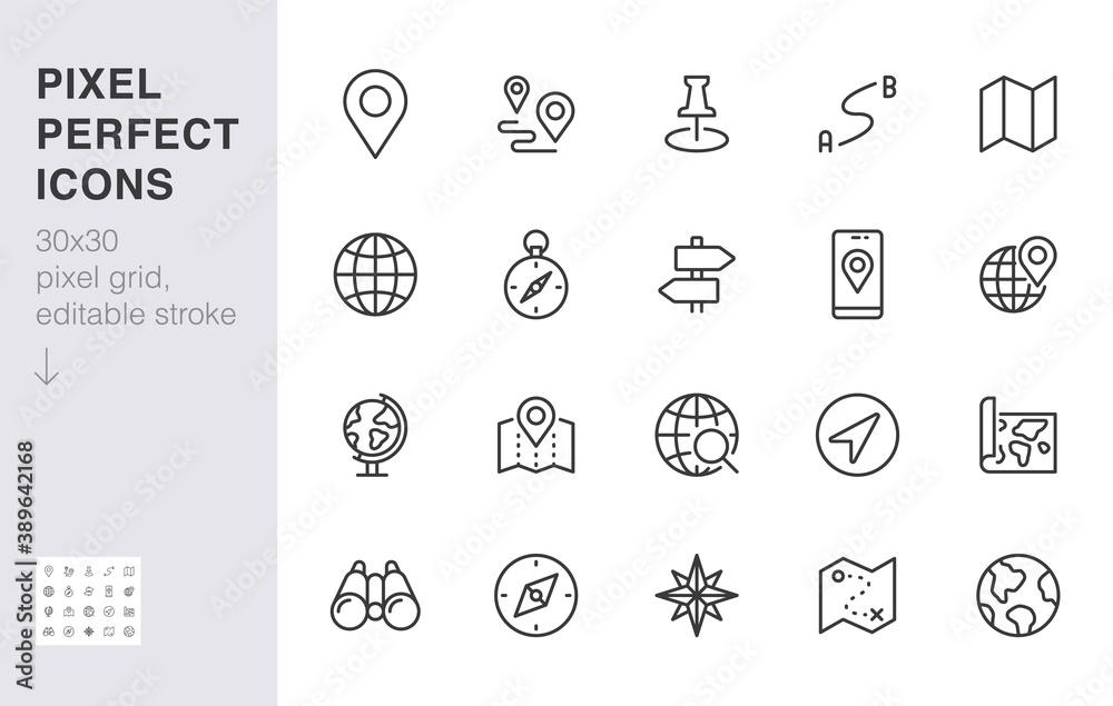 Obraz Location line icon set. Compass, travel, globe, map, geography, earth, distance, direction minimal vector illustration. Simple outline sign navigation app ui 30x30 Pixel Perfect Editable Stroke fototapeta, plakat