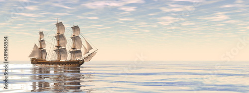 Fotografie, Obraz Beautiful detailed old merchant ship by sunset - 3D render