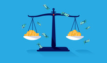 Equal Pay - Scale With Money Showing Equal Salary And Pay. Economic Fairness And Justice Concept. Vector Illustration.