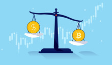 Bitcoin Vs Dollar - Coins On Weight Scale With Financial Graph In Background. Vector Illustration.
