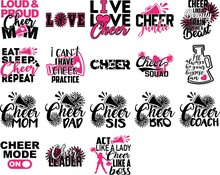 Set Of Cheer Quotes. Cheeleader Silhouette. Pompoms Vector