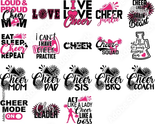 Canvas Print Set of Cheer quotes. Cheeleader silhouette. Pompoms vector