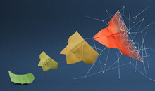 Transformation From Caterpillar To Butterfly, Analog To Digitalization, Business Concept In Paper Folding