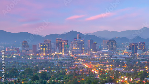 Phoenix city downtown skyline cityscape of Arizona in USA Fotobehang