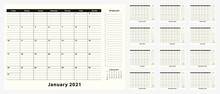Monthly Business Desk Pad Calendar For Year 2021, 12 Month.