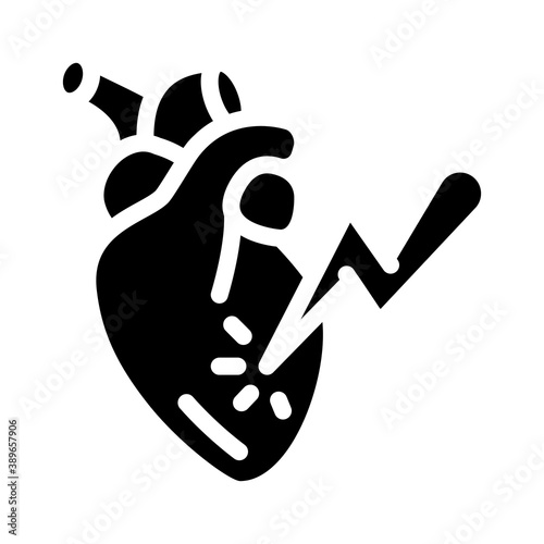 Fotografie, Obraz heart attack glyph icon vector illustration sign