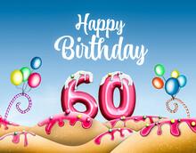 Bunte Geburtstagskarte Happy Birthday Mit Süßen Elementen Zum 60. Geburtstag