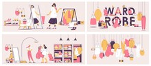 Vector Concept Scenes With Closet And Wardrobe, Boutique And Personal Stylist In Pink And Yellow, Drawn With Outline Style. Women Choosing Clothes And Style