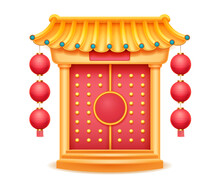 Temple With Bamboo Roof, Closed Gate With Carpet On Steps Isolated. Vector Chinese Style Building, Pagoda Castle Oriental Palace, Decorative Pavilion. Ancient Japanese Or Korean House Entrance Door