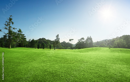 Sunrise golf course with blue sky Wallpaper Mural