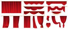 Set Of Red Curtains Isolated Decorative Stage Cloth. Vector Luxury Cornice Decor, Domestic Fabric Interior Drapery Textile Labrecque, Scarlet Silk Velvet Curtain. Theatre, Cinema Scenes Decorations