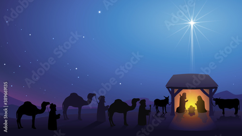 Fotografia Shining star landscape above the nativity scene in bethlehem with the approach o