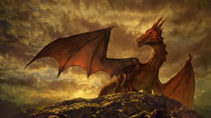 fantasy red dragon art - digital illustration