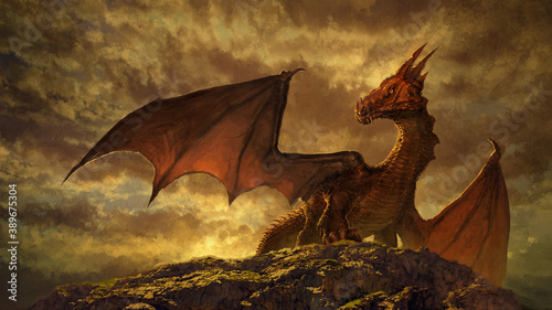 Fototapeta premium fantasy red dragon art - digital illustration