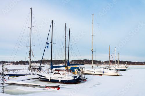 Fotografia Boote im Stadthafen von Rostock im Winter