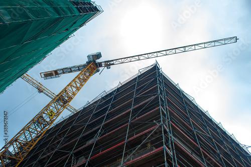 Construction site jib crane Wallpaper Mural