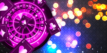 Illustration, Casino Element Isolation Banner Over Abstract Background With Colorful, Casino Online Banner Template With The Copy Space For Text. Roulette And Poker Casino Online Concept.