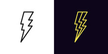 Outline Lightning Icon. Linear Electric Thunderstorm Sign With Editable Stroke, Electrical Discharge