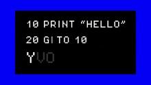 Decoding A Fake Computer Program With A Print And A Goto Command (retrocomputing), With Colorful Moving Side Bars. 8-bit Retro Font, White Text On A Black Background.