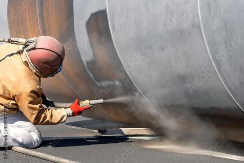 Fotografie, Obraz View of the sandblasting or abrasive blasting