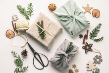 Fabric Wrapped Gifts And Woode...