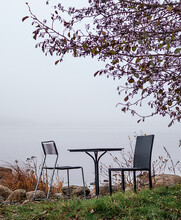 Table And Two Chairs Under Tree On Coastline In Grey Foggy Day. November Scenery. A Lake With White Dense Fog. Mist Over Water. Tranquil And Peaceful Romantic Place To Relax In Nature. Autumn Concept.
