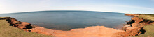 Red Cliffs Overlooking Cavendish Beach On Prince Edward Island, Canada.