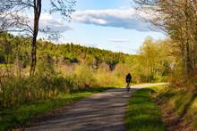 Biker On Bike Path In Cambridge, Vermont