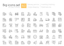 Shipping And Delivery Linear Icons Set. Postal Services. Logistic Industry. Inventory Tracking. Customizable Thin Line Contour Symbols. Isolated Vector Outline Illustrations. Editable Stroke