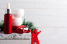 White Jars In Christmas Compos...