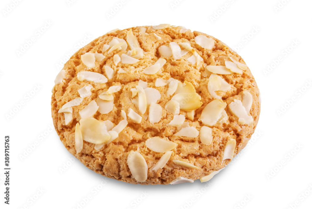 Fototapeta Cookies with almond on a white isolated background
