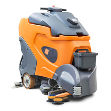 Walking Behind Sweeping Machine Isolated On White Background. Industrial Floor Sweeper & Autonomously Cleaning Scrubber For Shopping Center. Sweep Machine Front Side View. Industrial Machinery
