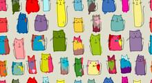 Funny Cats Family, Seamless Pa...