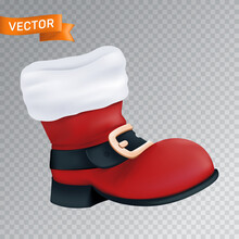 Red Boot Of Santa Claus With A White Fur And A Black Belt With A Golden Buckle. Realistic Vector Illustration Of An Empty Close Up Christmas Footwear Isolated On A Transparent Background